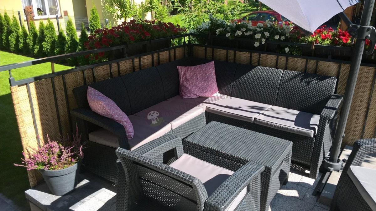 Komplet mebli ogrodowych narożnik, stolik i fotele z serii Corfu