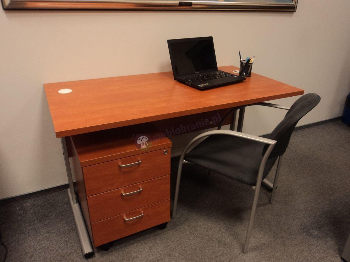 Kontener biurowy i biurko w kolorze calvados