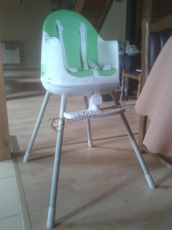 Krzesełko dla dzieci do karmienia zielone z szelkami