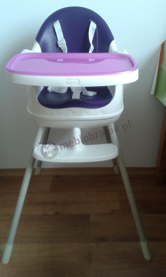 Krzesełko do karmienia dla dzieci Keter biało-fioletowe