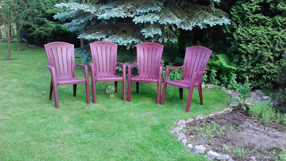 Krzesła ogrodowe plastikowe z podłokietnikami Curver Santorini