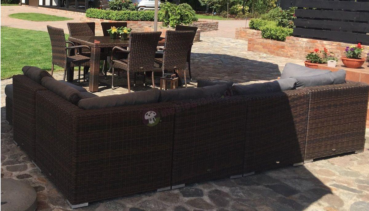 Krzesła ogrodowe z technorattanu z pasującą sofą