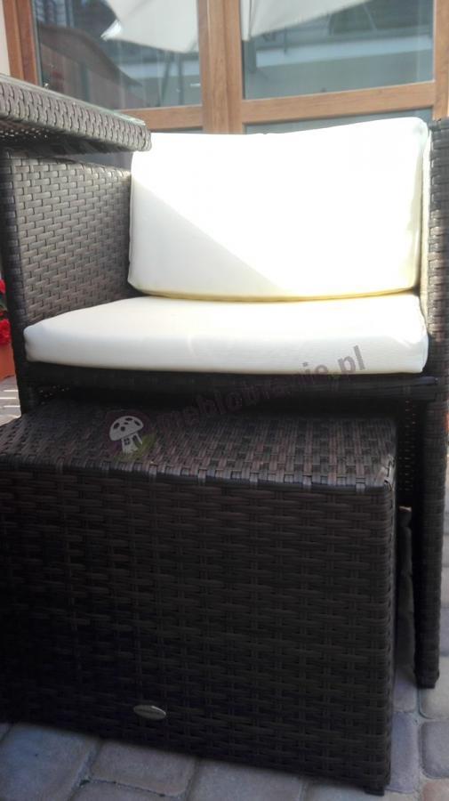 Krzesła ogrodowe z technorattanu z poduszkami Cubioso