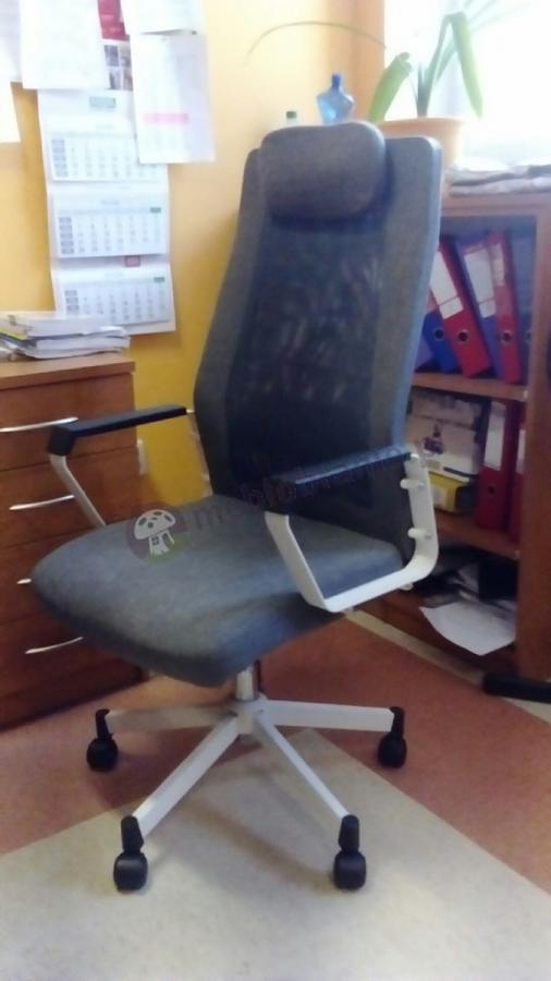 Krzesło biurowe z zagłówkiem Fox szare