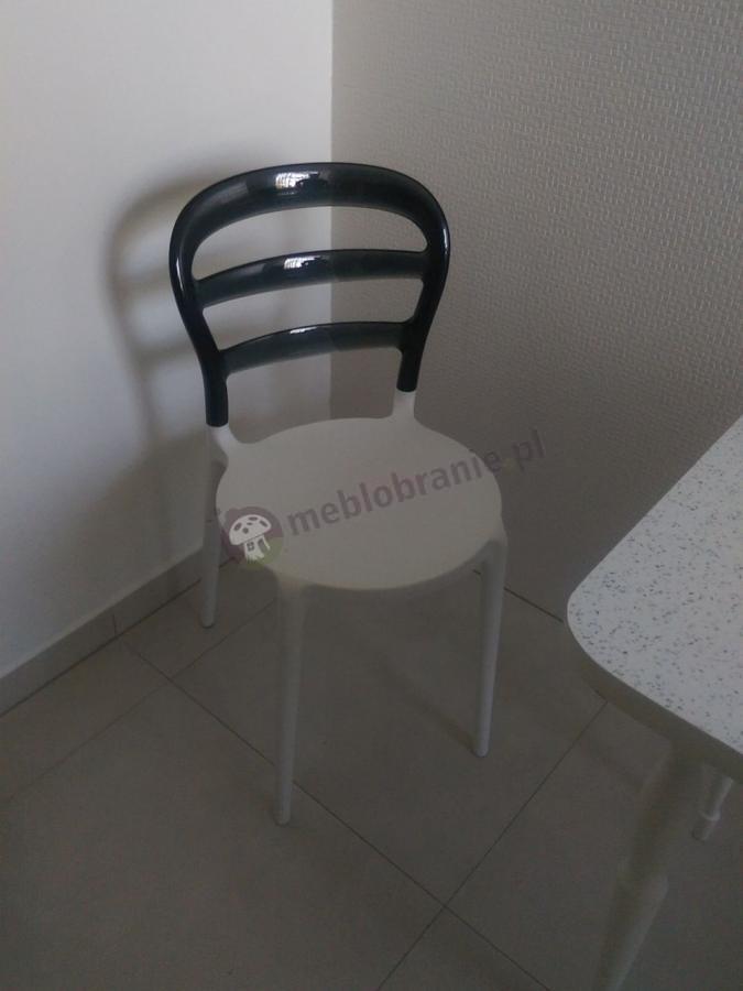 Krzesło do jadalni nowoczesne biało-czarne Miss Bibi