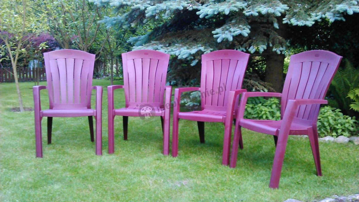 Krzesło do ogrodu plastikowe matowe w intensywnym kolorze