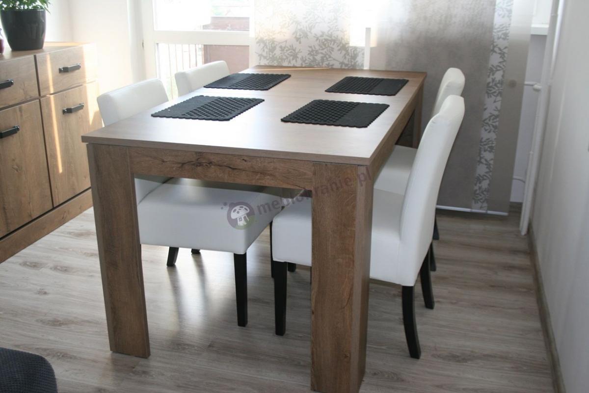 Krzesło tapicerowane do stołu białe z czarnymi nogami niskie oparcie