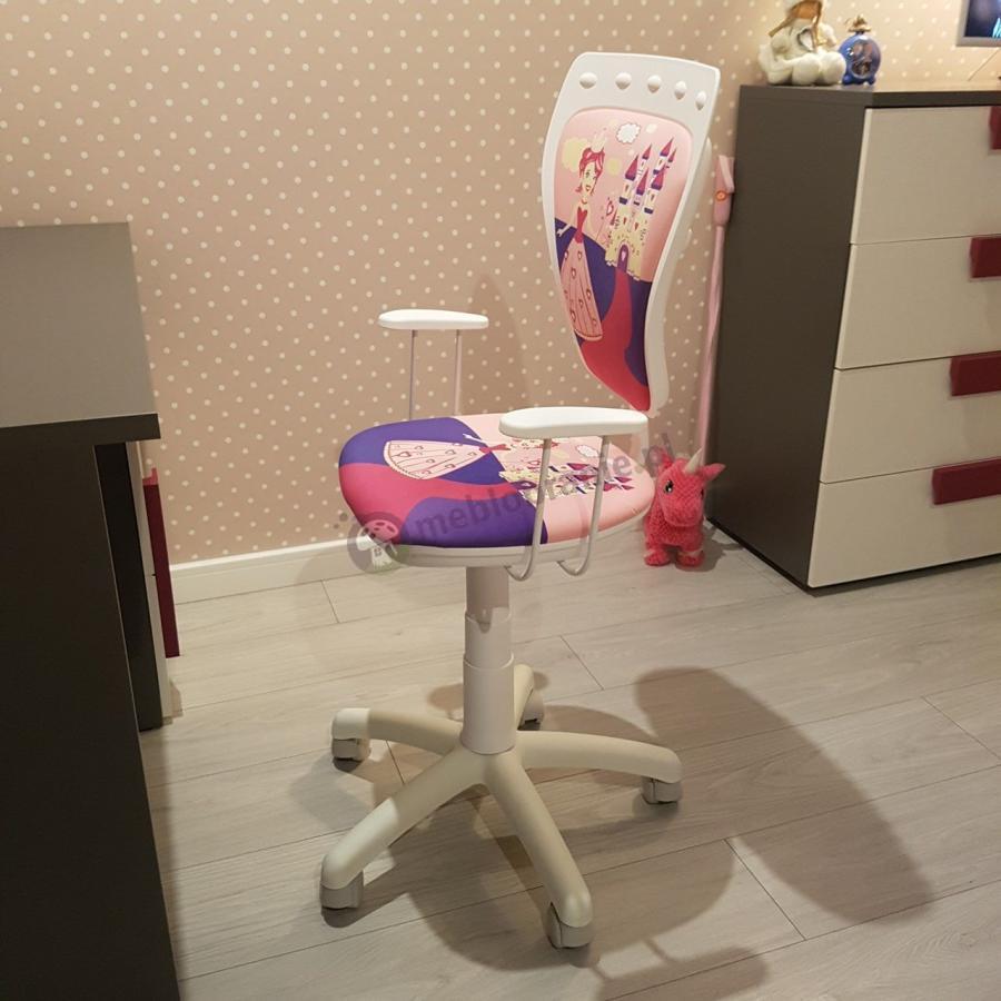 Ładne różowe krzesełko obrotowe dla dziewczynki z księżniczką Nowy Styl