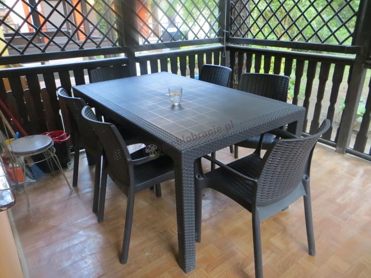 Ładny zestaw ogrodowy obiadowy dla 6 osób z dużym stołem Melody 6B
