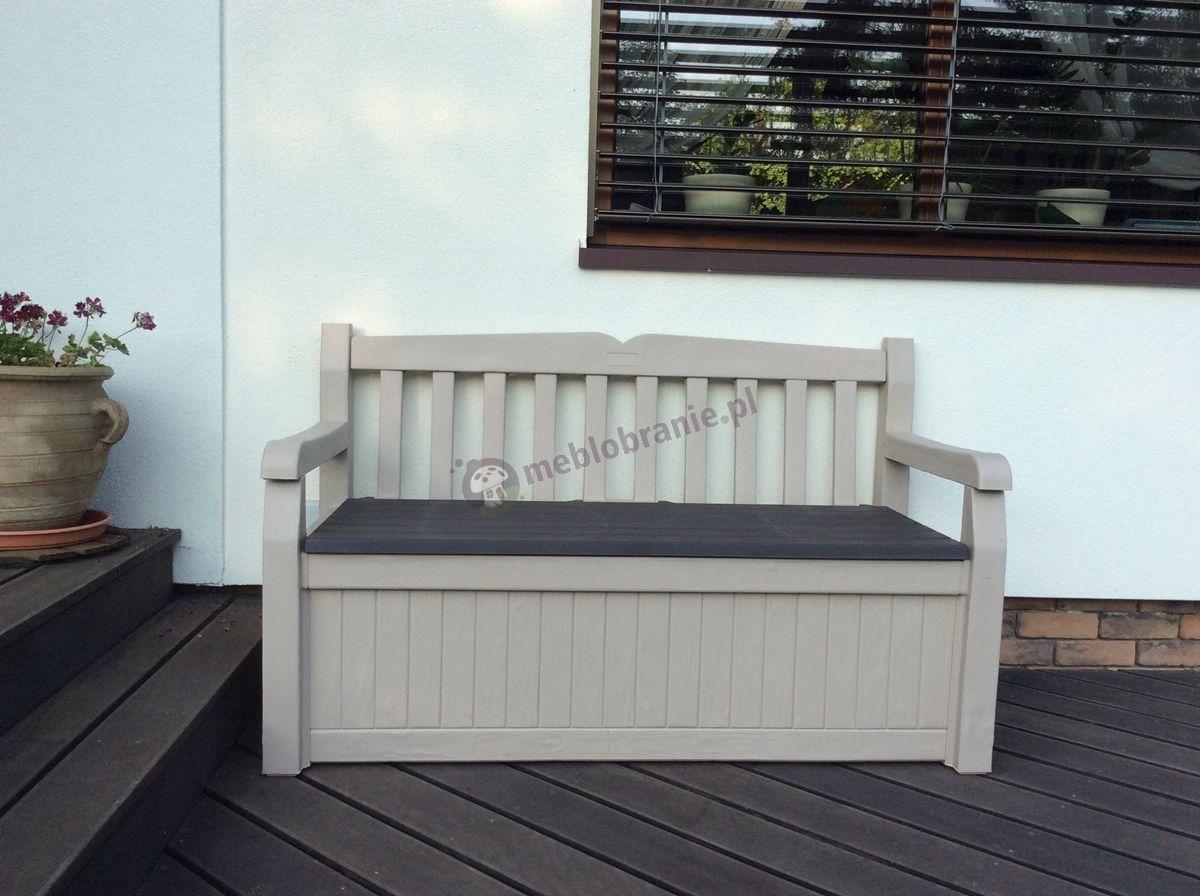 Ławka na taras ze skrzynią na poduszki