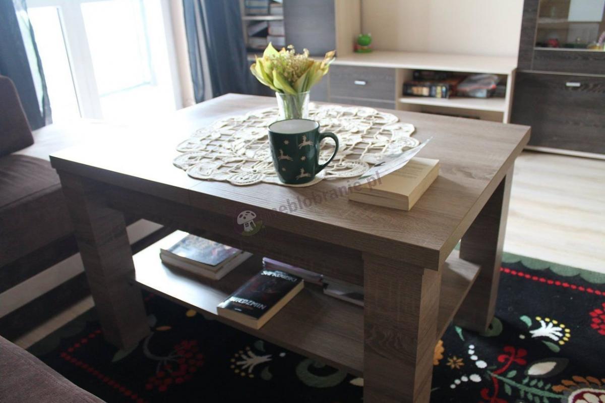 Ławostół w odcieniu dąb truflowy używany w salonie