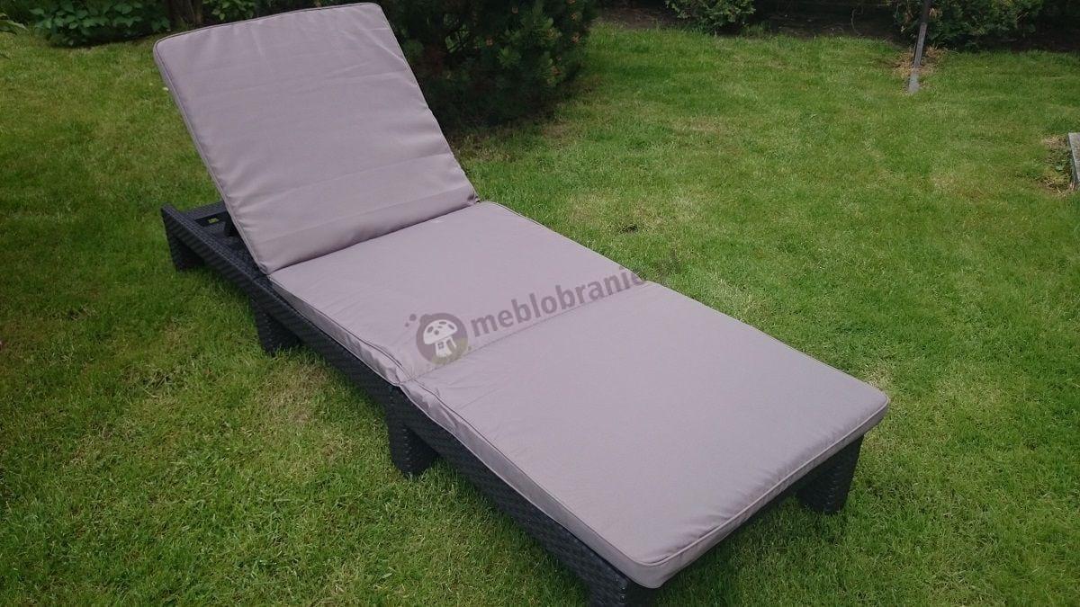 Leżak ogrodowy z poduszką brązowy Daytona