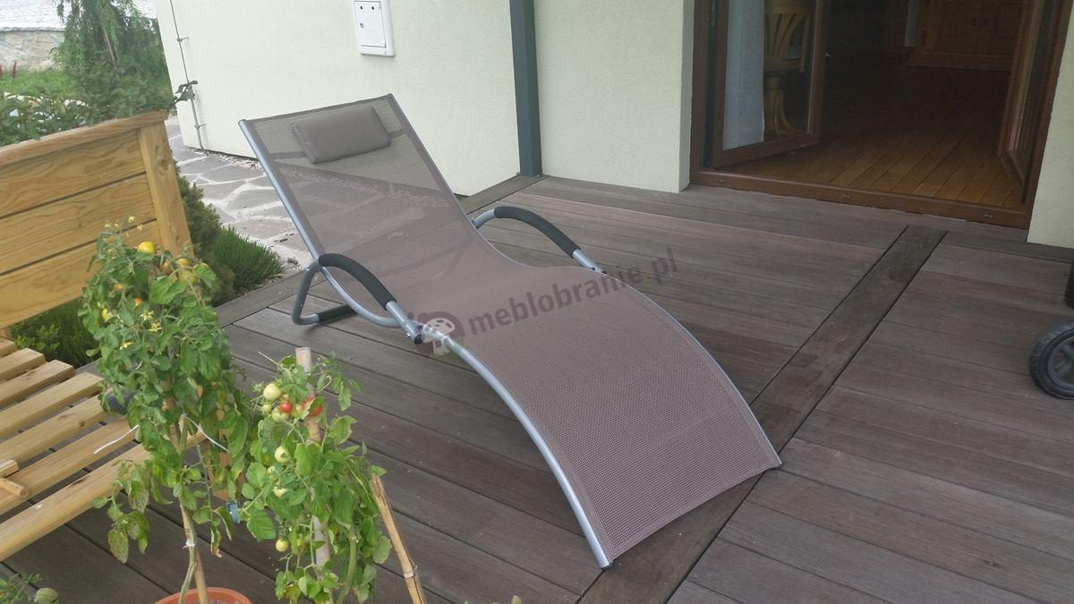 Leżak plażowy aluminiowy z wygodną poduszeczką