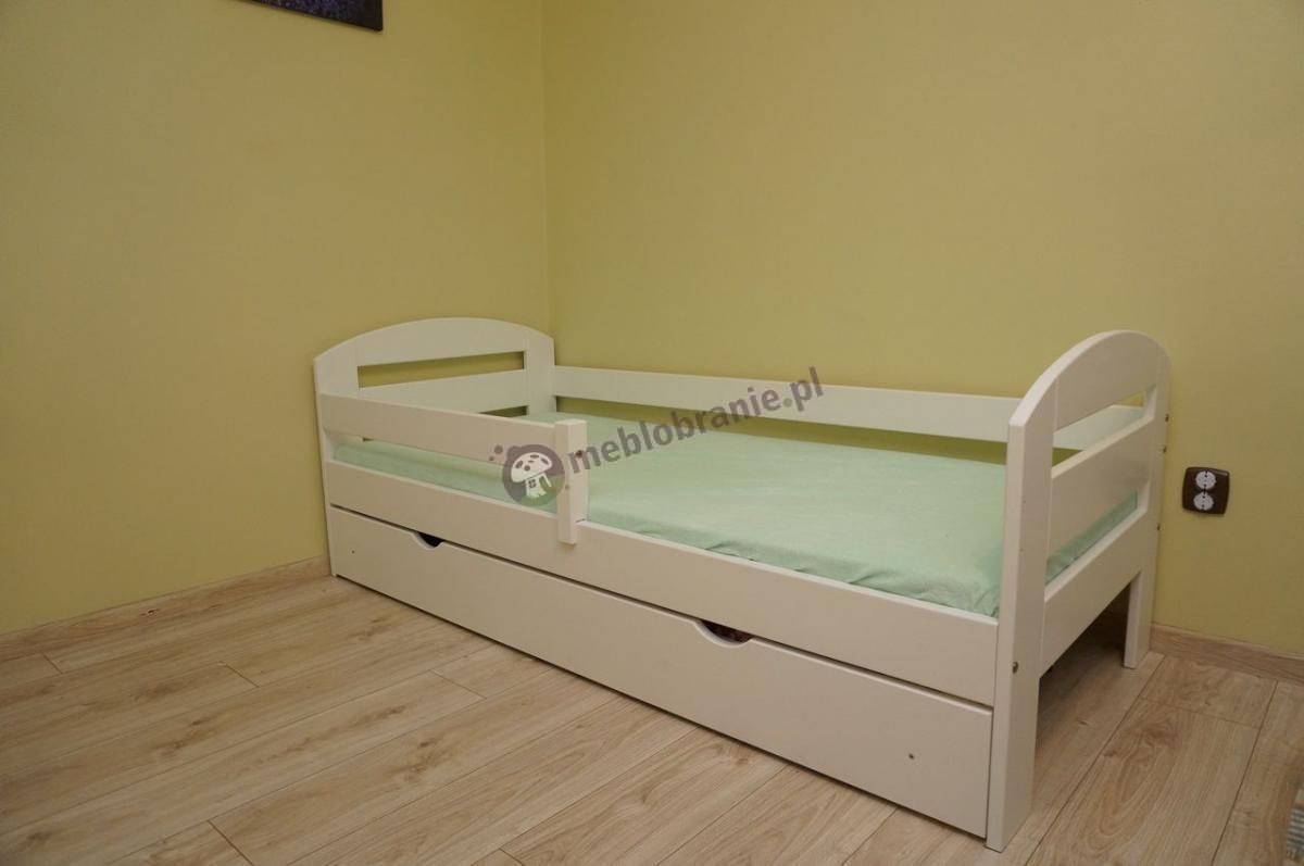 Łóżko pojedyncze dla dziecka białe z szufladą