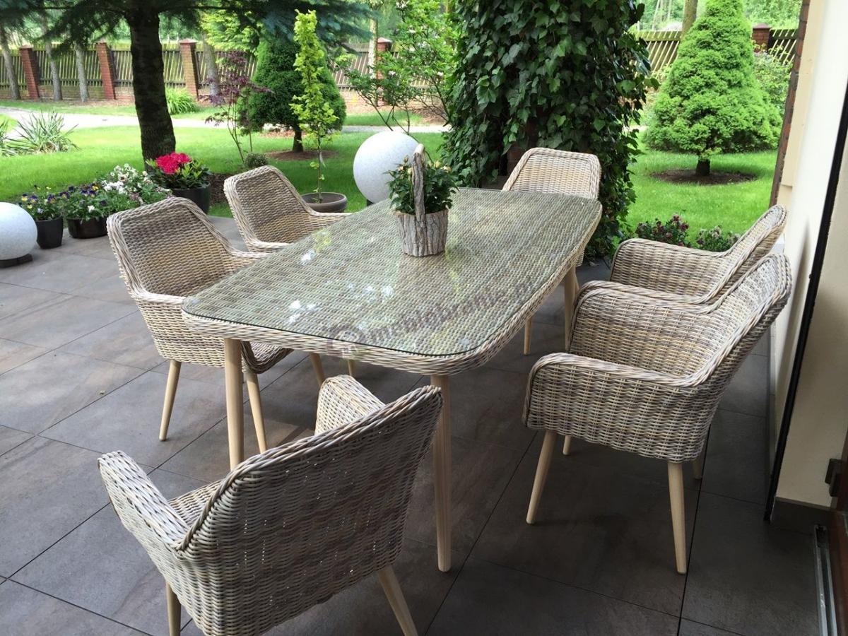 Luksusowy zestaw stołowy do ogrodu Nicea 6+1 Beige aranżacja