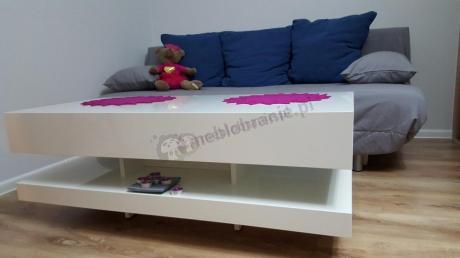 Biały stolik do salonu 120 cm wysokość 45 cm
