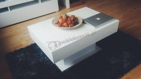 Biały stolik do salonu 90 cm wysokość 45 cm