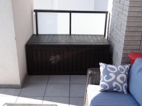 Brązowa skrzynia na balkon do siedzenia Rockwood Box