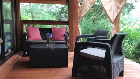 Brązowe meble ogrodowe Corfu Set Box ze stolikiem-skrzynią