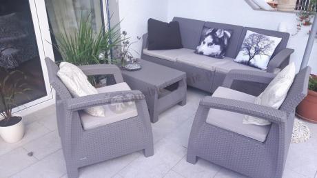 Curver meble z tworzywa Corfu Set Max z dodatkowymi poduszkami