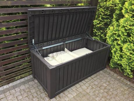 Duża skrzynia ogrodowa o pojemności 570L z poduszkami Keter Rockwood