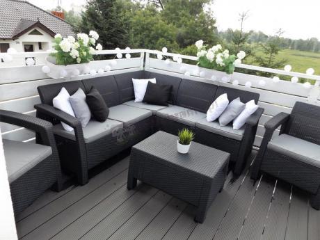 Elegancki zestaw ogrodowy z narożnikiem i dwoma fotelami Corfu