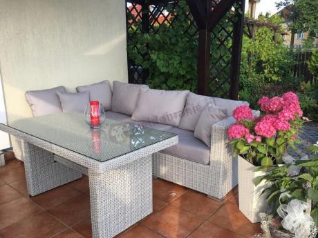 Komplet mebli ogrodowych z technorattanu Ligurito V Plus Off-White Elite & Taupe