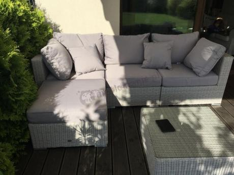 Komplet ogrodowy technorattanowy biały Ligurito V Off-White Elite & Taupe