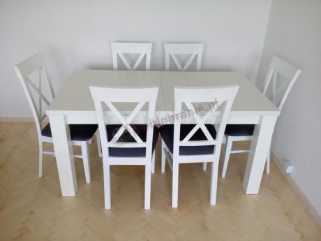 Komplet Stół I Krzesła Do Salonu W Białym Kolorze