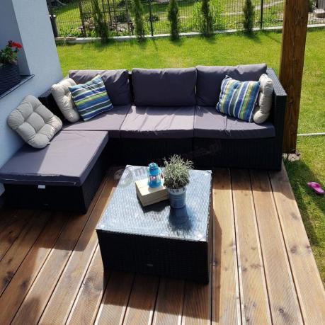 Komplet wypoczynkowy technorattan sofa modułowa ze stolikiem