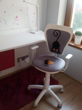 Krzesło obrotowe dziecięce z tapicerowanym siedziskiem Ministyle Kot i Mysz