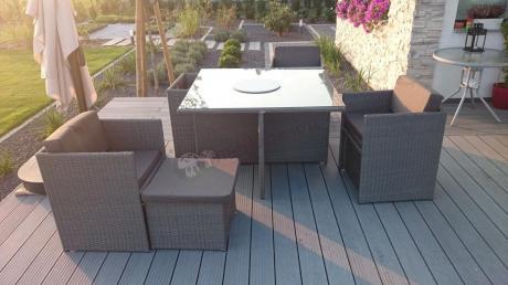 Meble ogrodowe chowane pod stolik Cubioso Grey Grey