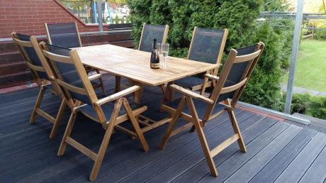 Meble Ogrodowe Drewniane Stół 200x100cm 6 Krzeseł Textiline