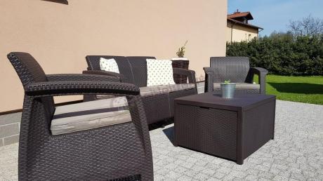 Meble ogrodowe ze skrzynią na poduszki Corfu Box Set brąz
