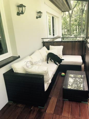 Meble technorattan do ogrodu na balkon brązowe modułowe