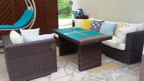 Meble technorattan narożnik, wysoki stół i fotel zestaw Ligurito VI