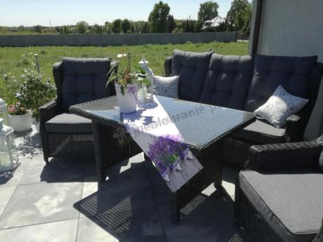 Meble technorattanowe na balkon Trivento Dining 3 Dark Grey