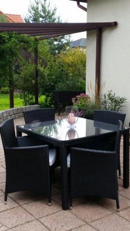 Meble z technorattanu do ogrodu czarne Pazzo