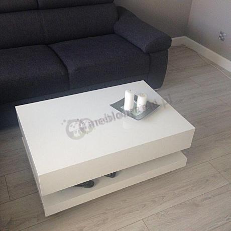 Niski stolik do salonu w kolorze arktycznej bieli