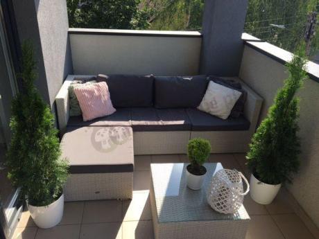 Sofa ogrodowa technorattan modułowa w modnym popielatym kolorze