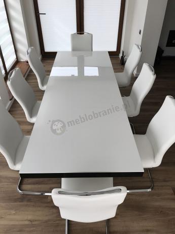 Stół do jadalni glamour na wysoki połysk biało-czarny