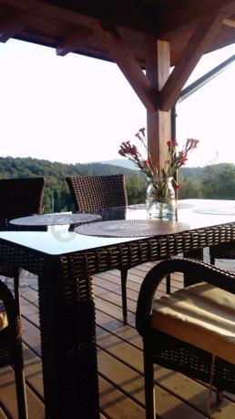 Stół i krzesła ogrodowe technorattan NASSICO 160 Brown Elite