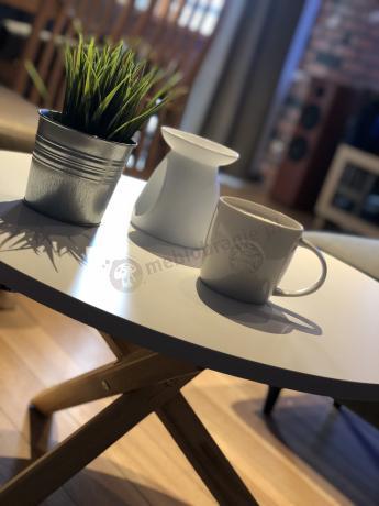 Stolik kawowy drewniany okrągły do salonu Triple-68