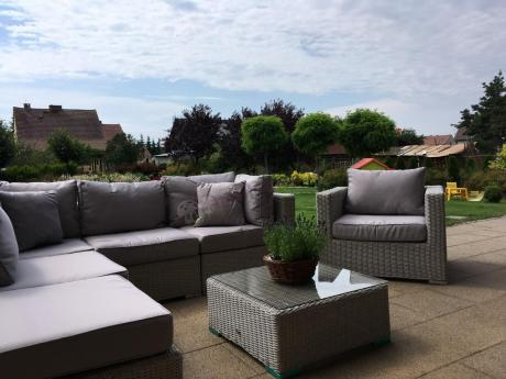 Technorattan sofa narożna z fotelem i kwadratowym stolikiem Ligurito VII
