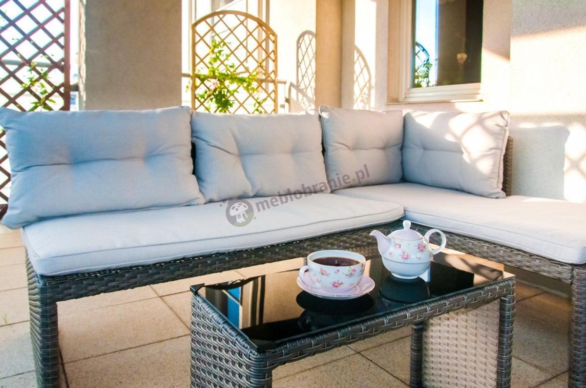 Mały narożnik ze stolikiem z szybą na taras lub balkon Canvas Caffe