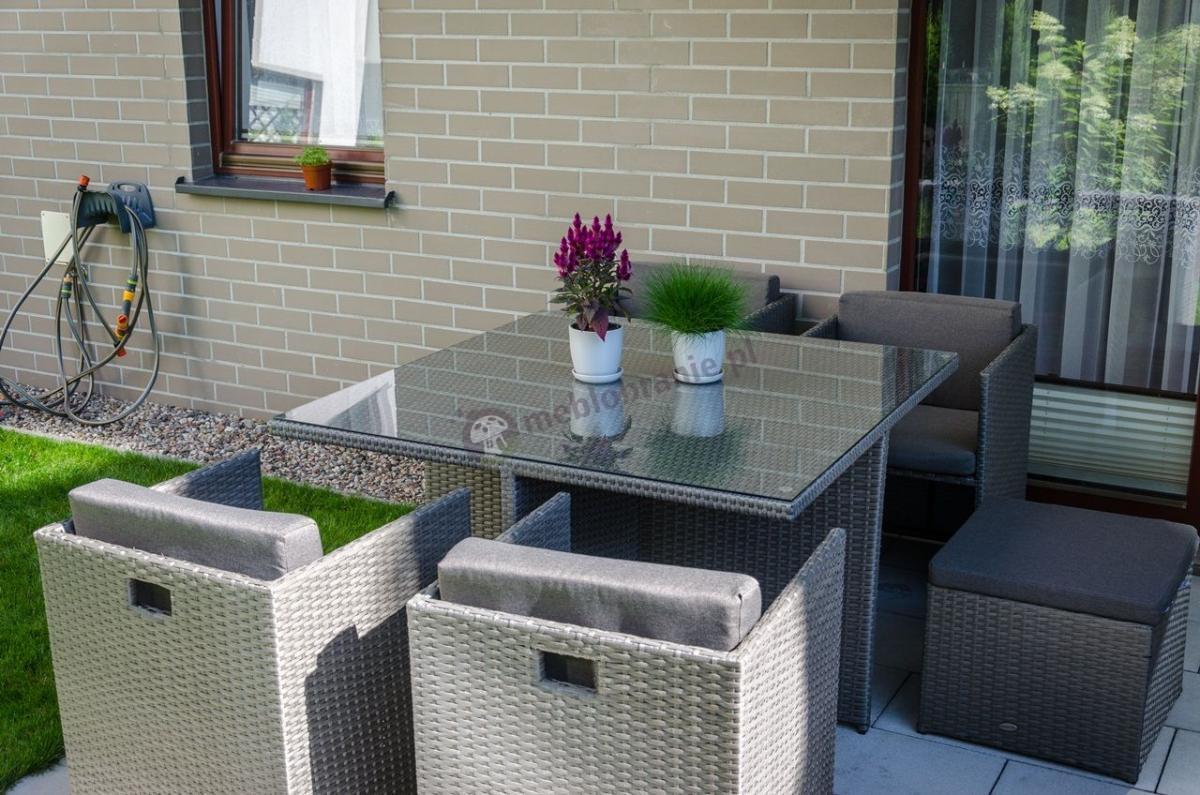 Meble balkonowe technorattan kostka Cubioso Grey & Grey