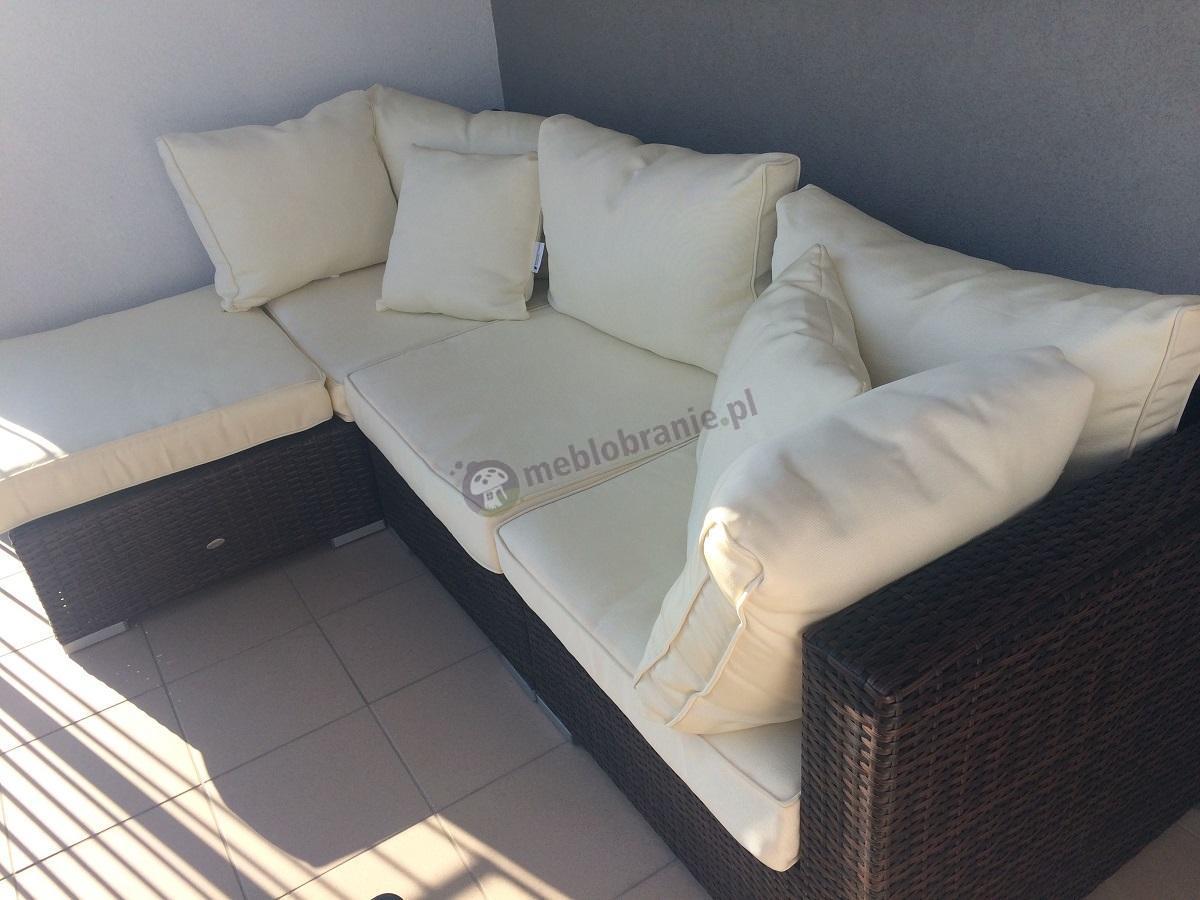 Meble balkonowe technorattan sofa narożna Nilamito
