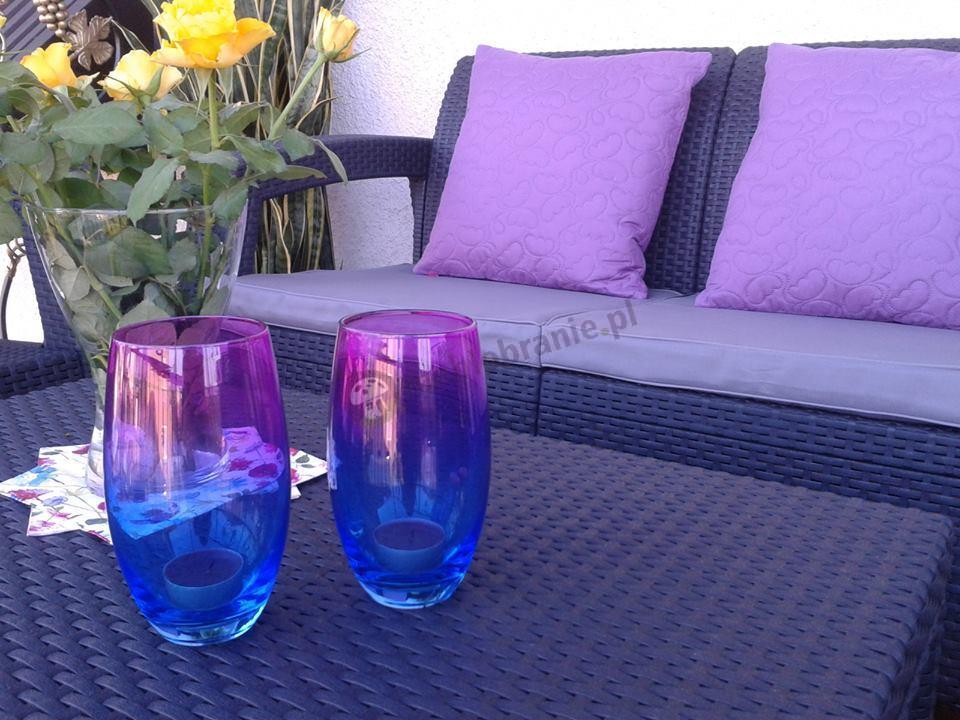 Meble Corfu Set z efektownymi fioletowymi dodatkami