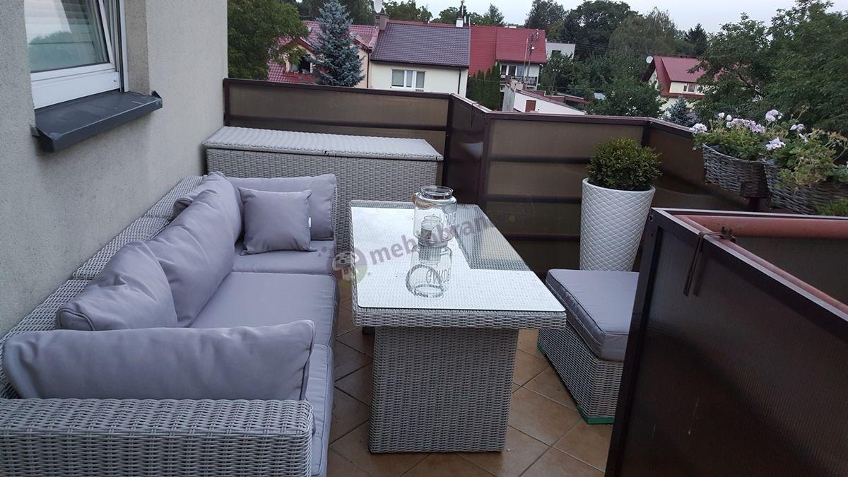 Meble do ogrodu technorattan używane na balkonie