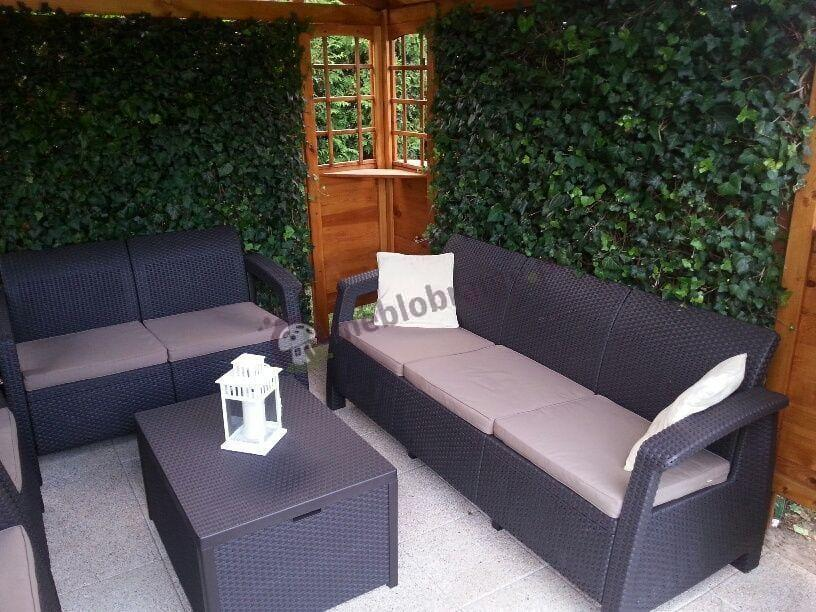 Meble ogrodowe Corfu Box uzupełnione o dużą sofę